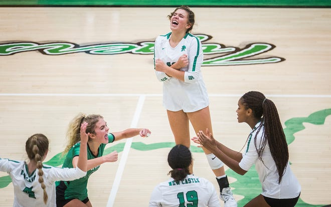 Yorktown faces off against New Castle during their game at Yorktown High School Tuesday, Sept. 15, 2020.