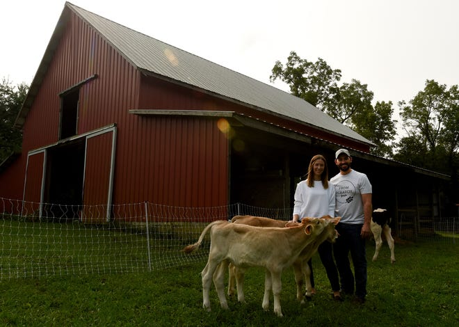 Kim and Taylor Wiggins, owners of From Scratch Farm, married in 2018 and bought their Johnstown farm a year later. The first generation farmers follow organic practices.
