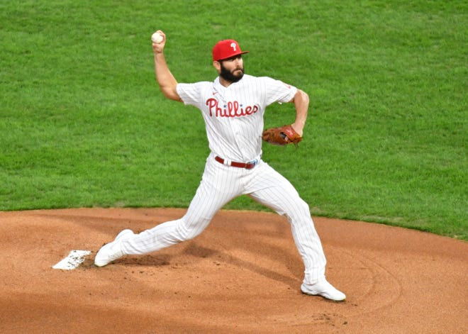Sep 15, 2020; Philadelphia, Pennsylvania, USA; Philadelphia Phillies starting pitcher Jake Arrieta (49) throws a pitch during the first inning against the New York Mets at Citizens Bank Park. Mandatory Credit: Eric Hartline-USA TODAY Sports