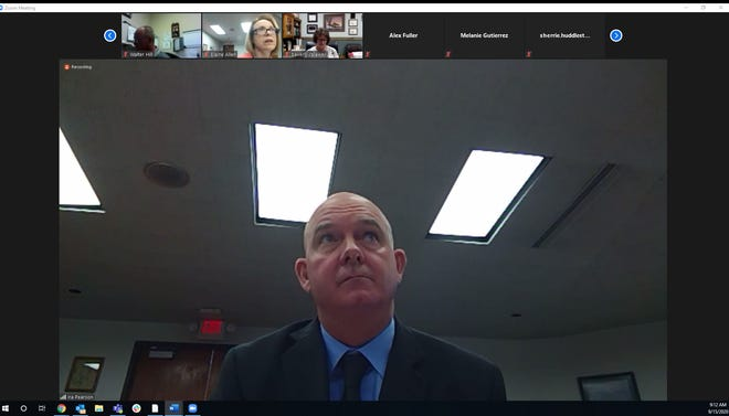 Lincoln County's new County Manager Ira Pearson leads the Sept. 15, 2020, meeting of the Board of Commissioners held via Zoom. Pearson will replace Nita Taylor in the job.