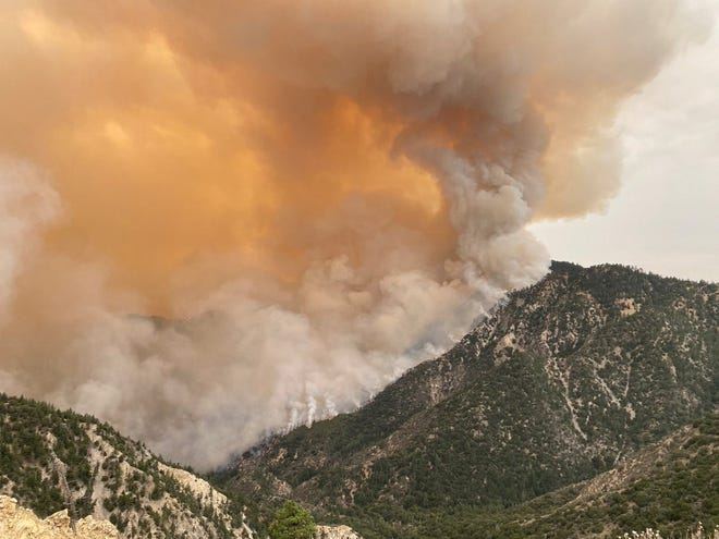 The Bobcat Fire continues to burn in the Angeles National Forest on Tuesday, Sept. 15, 2020.