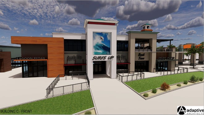 A rendering of shops at the planned coastal-themed Cannon Beach development in southeast Mesa.