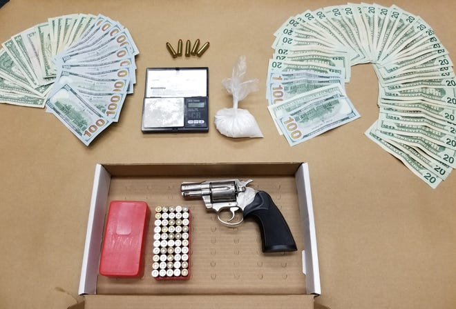 On Sept. 15, 2020 officers recovered and seized a stolen, .38 caliber handgun, ammunition, nearly 59 grams of a Heroin/Fentanyl compound, in excess of  $2,300 of United States Currency, and other articles commonly used in the distribution of controlled substances.