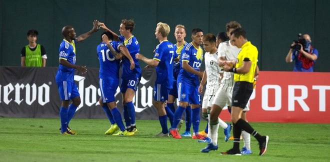 Reno 1868 FC celebrates a goal against Portland Timbers 2 earlier this month.
