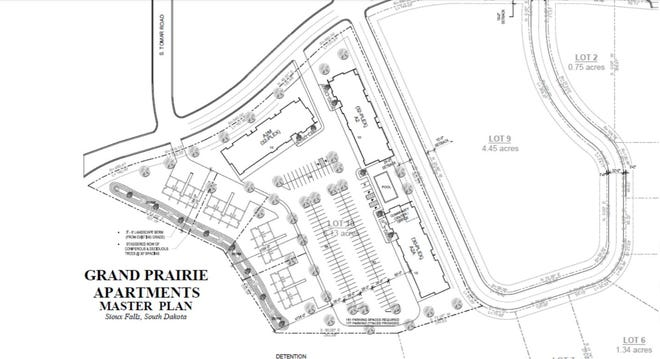 A planning map of the Grand Prairie Apartments development, as provided to city officials for a proposed rezone of the site.