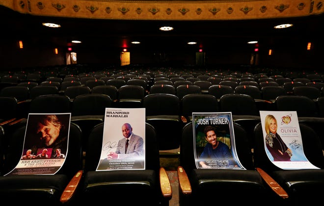 The historic Gillioz Theatre in downtown Springfield is auctioning 99 event posters to raise money to survive the pandemic.