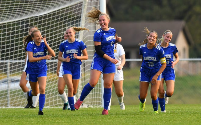 Sartell's Reese Kloetzer celebrates a first-half goal during the game Tuesday, Sept. 15, 2020, against Sauk Rapids at Sartell High School.