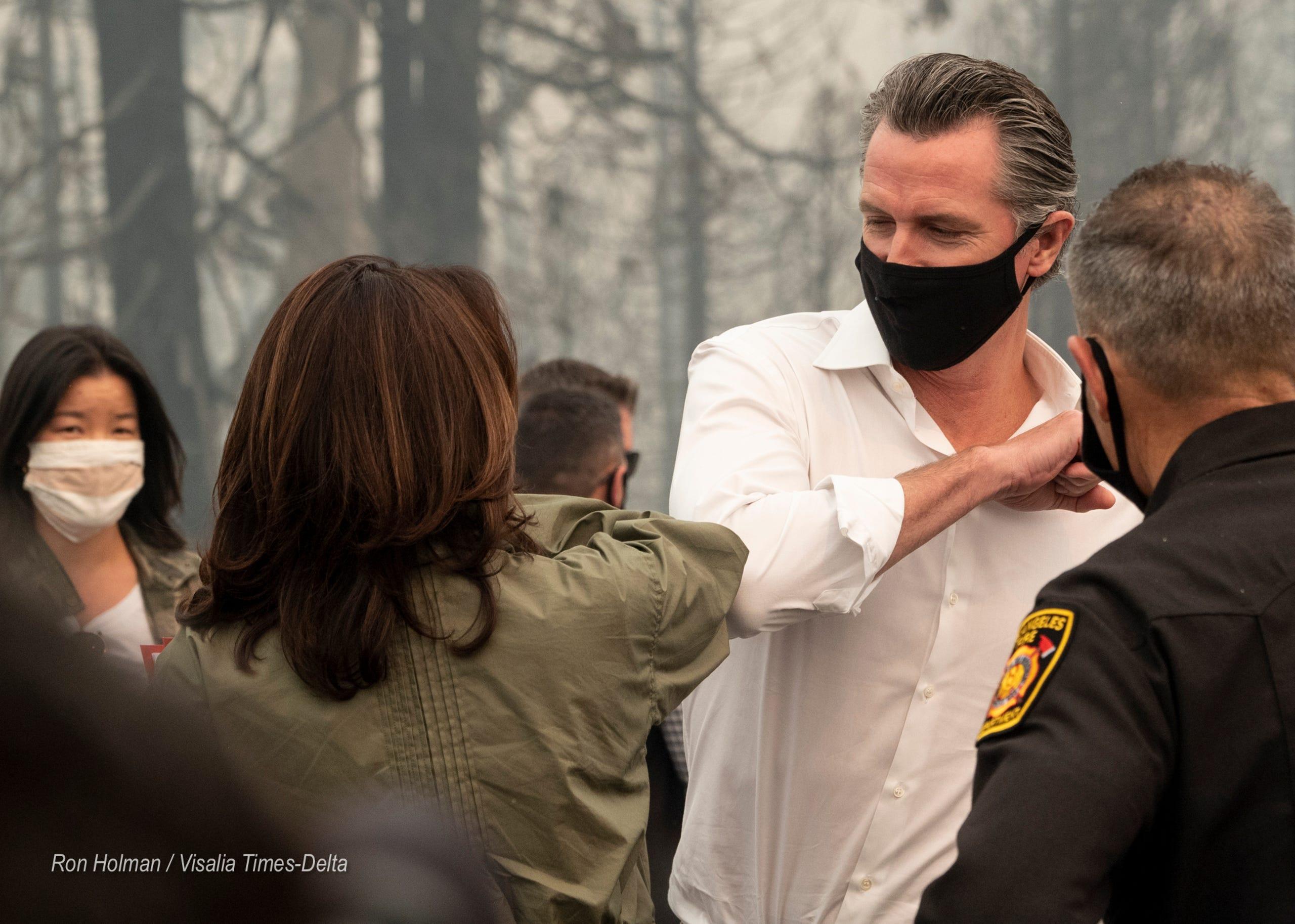 Vp Hopeful Kamala Harris And Ca Governor Gavin Newsom Visit Creek Fire Site