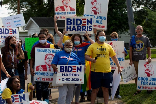 Supporters of presidential candidate, Joe Biden stood outside the fairgrounds Wednesday afternoon in support of their candidate and protesting Donald Trump ahead of Vice President Mike Pence's speech inside the fairgrounds.