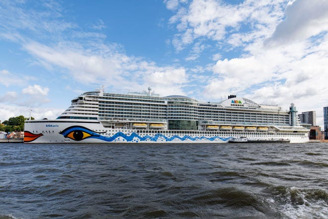 The AIDAperla stands in Hamburg Port on July 29, 2020 in Hamburg, Germany.