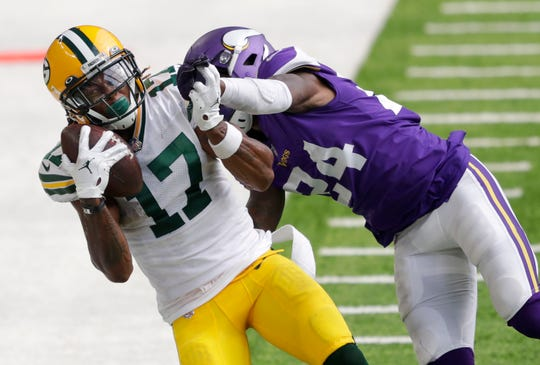 In the Packers' season-opener, wide receiver Davante Adams caught 14 passes for 156 yards and two touchdowns.