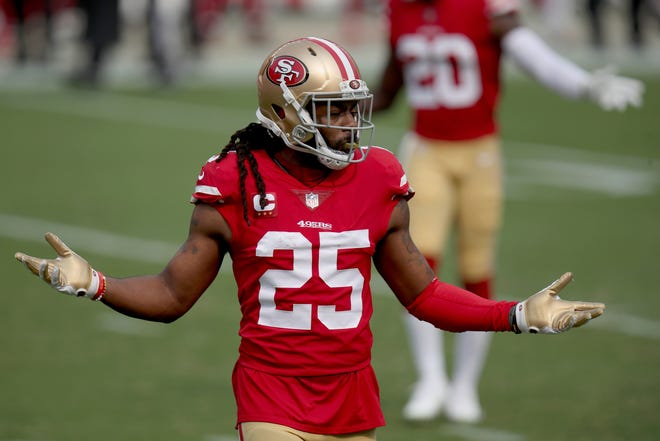 San Francisco 49ers cornerback Richard Sherman (25) reacts during an NFL football game against the Arizona Cardinals on Sunday, Sept. 13, 2020, in Santa Clara, Calif.