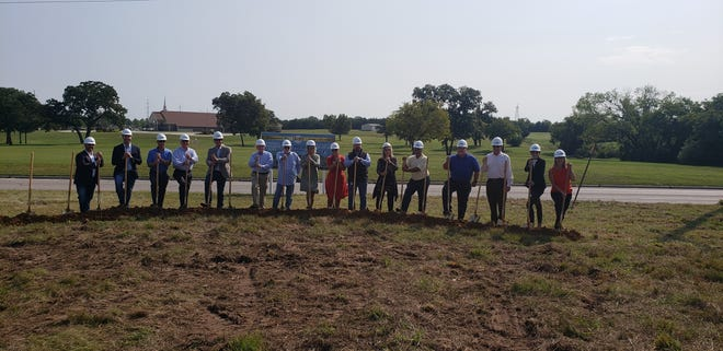 Developers for the Preserve at Ardmore apartment complex are joined by officials from the Ardmore Chamber of Commerce, the Ardmore Development Authority, and the City of Ardmore at a groundbreaking ceremony held Thursday morning.