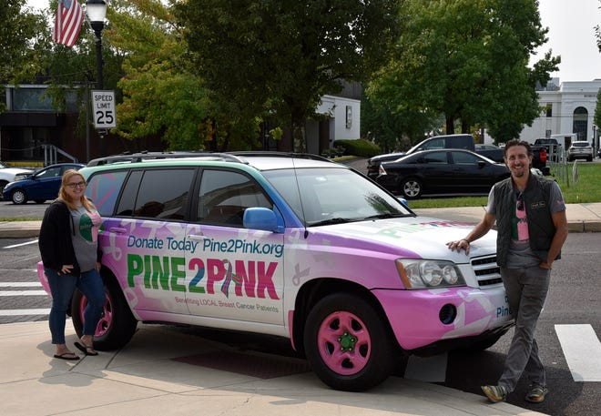 Keith Fenimore and Brittany Brown generate enthusiasm in Perkasie for the Pine2Pink campaign. This year'smonth-long Pine2Pink fundraiseris slated to kick offat 7:30 p.m. Oct. 1 during an event in Perkasie's downtown, where businesses will be aglow in pink. [MARION CALLAHAN / STAFF PHOTOJOURNALIST]