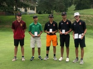 Members of the All-OVAV 3A First Team pose following Thursday's OVAC 3A Championshops. Left to right, Zander Potts 76, Barnesville's Carter Wells 71 runner up medalist, Dylan Dunlevy 74, Aiden Grubler 75, Ryan Demiczak 69 match medalist.