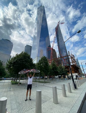 Exhilaration after arriving at One World Trade in New York City.