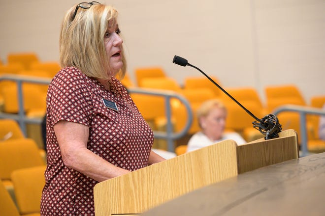 Carman Cullen of the Educational Foundation of Lake County asks for the committee's continued support at the Lake County Legislative Delegation meeting on Wednesday, Oct. 9, 2019. [Cindy Peterson/Correspondent]