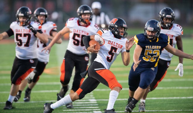 Jaiden Malone rushes for a long TD against Hillsdale. The first-year QB has Dalton on top of the WCAL once again this season.