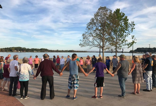 About 40 members of the community gather Sept. 17, 2019, to pray for an end to violence in Burlington.