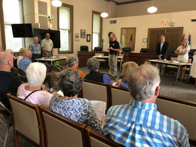 Hudson City Council will resume in-person meetings in Town Hall on Sept. 22. This photo was taken at a Downtown Phase II feedback session that occurred at Town Hall in June 2019.