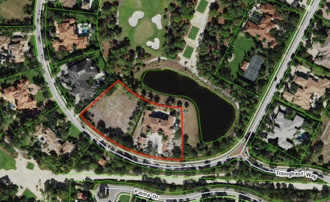 Elin Nordegren, ex-wife of golf star Tiger Woods, just paid a recorded $9.9 million for a house in Old Palm Golf Club on 2 acres, seen outlined in red on this undated aerial photo on the Palm Beach County Property Appraiser's website. [Photo illustration courtesy Palm Beach County Property Appraiser]