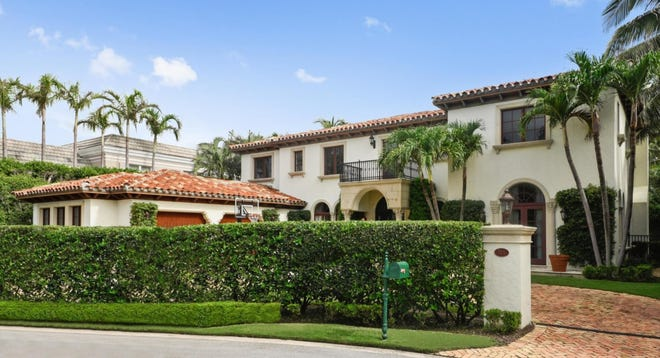 Completed in 2005 as a custom home, this Mediterranean-style house at 105 Casa Bendita on the near North End of Palm Beach has sold for a recorded $8.3 million. [VHT Studios photo courtesy Douglas Elliman Real Estate]