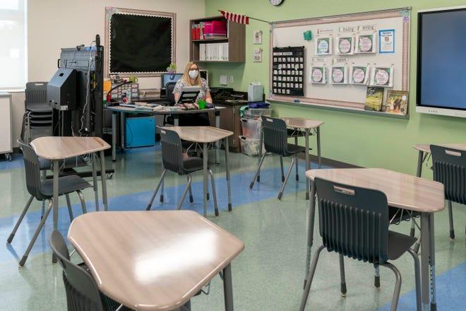 Third grade teacher Jennifer Frazier in her classroom the newly rebuilt Verde K-8 School in Boca Raton, Florida on September 16, 2020.