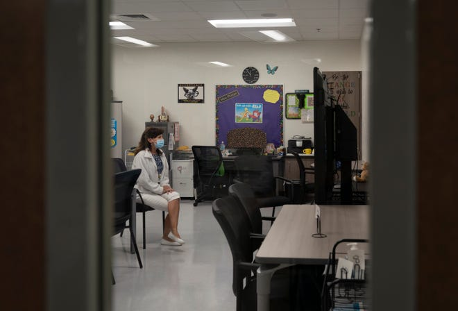 Teacher Pam Philips talks to her students remotely in September from her classroom at the newly rebuilt Verde K-8 School in Boca Raton.