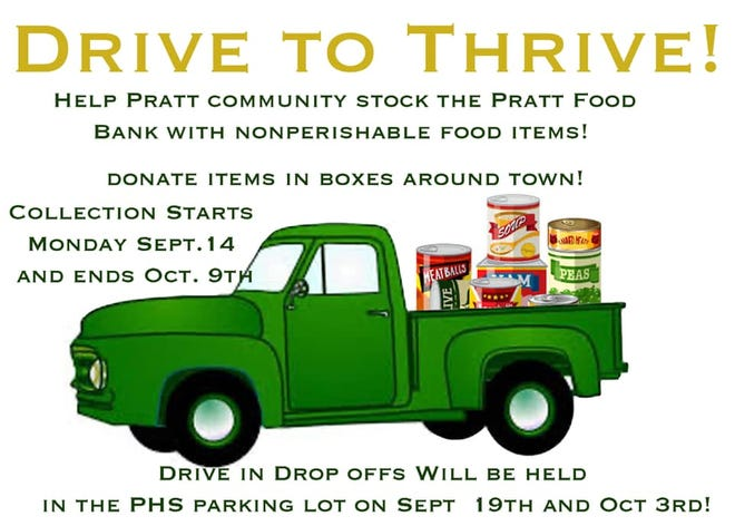Instead of War on 54, this year the Pratt High School student council has created a Drive to Thrive vehicle for food collection, with contests encouraged between area businesses, groups and inviduals.