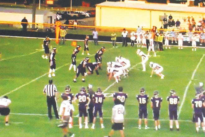 The Skyline High School Thunderbirds line up for an offensive play at Medicine Lodge last Friday. [screen shot photo from MLHS video]