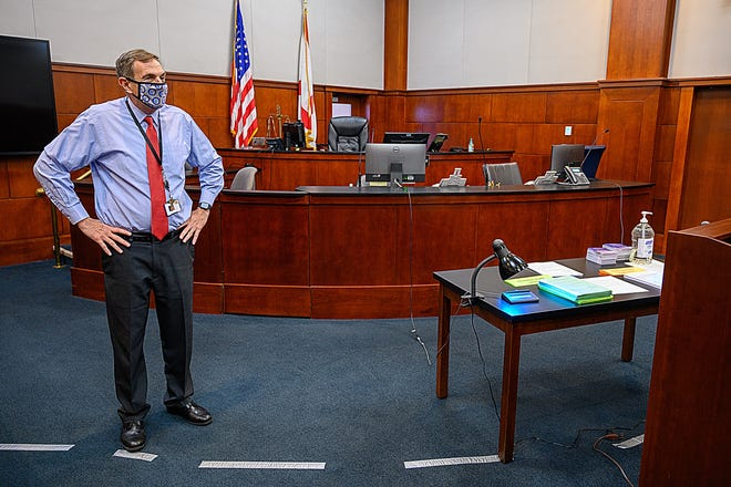 St. Johns County Circuit Judge Howard Maltz stands behind a line of tape on the floor of his courtroom in the St. Johns County courthouse on Wednesday, Sept. 16, 2020, that marks the closest lawyers and defendants are allowed to approach his bench to ensure social distancing.