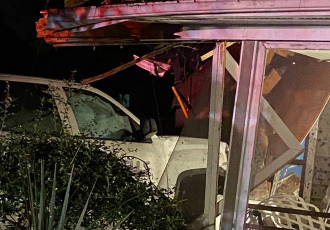 Three residents and two pets at this home escaped with no serious injuries after the truck slammed into the house near the intersection of Greenville and Hinton avenues Wednesday night.