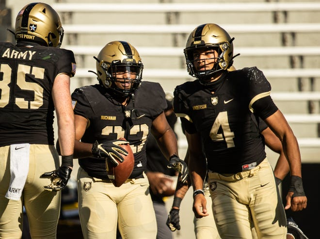 Army sophomore fullback Jakobi Buchanan (center) is looking to build off a career day against Louisiana-Monroe last week. ARMY WEST POINT ATHLETICS