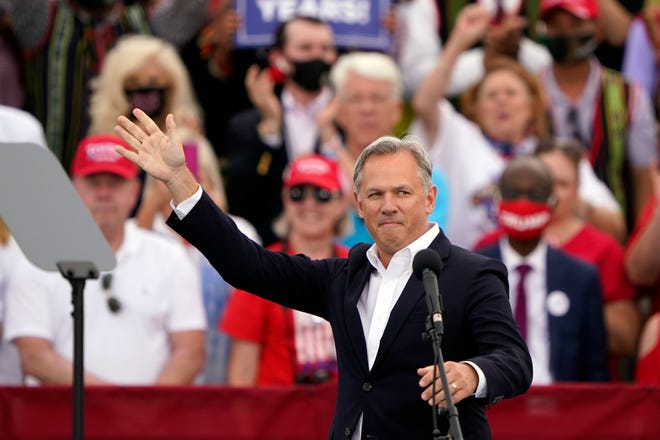 FILE - Republican North Carolina gubernatorial candidate Dan Forest appears a campaign rally ahead of the arrival of President Donald Trump Tuesday, Sept. 8, 2020, in Winston-Salem.