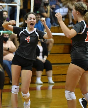 Sophia Jones of Satellite celebrates a point during Wedesday's match against Melbourne. Craig Bailey/FLORIDA TODAY via USA TODAY NETWORK