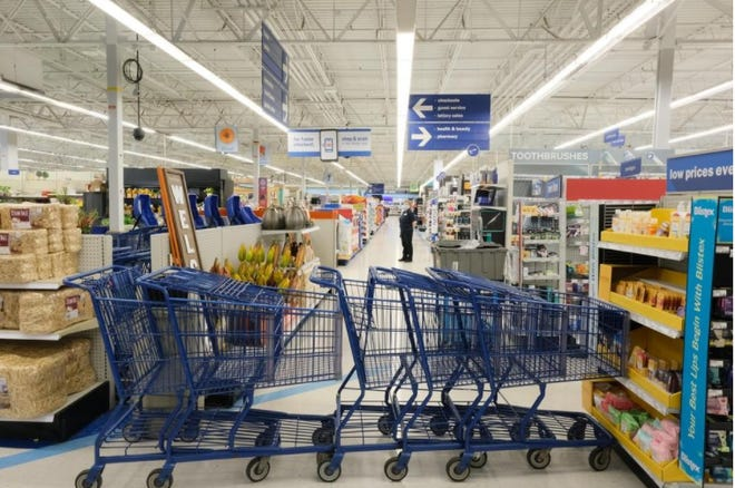 Meijer employees used shopping carts to cordon off the general merchandise section of the  store in Adrian Wednesday while police investigate a fatal stabbing.