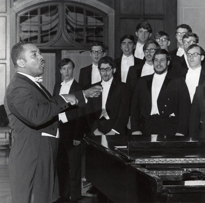 Dr. Willis Patterson conducting the University of Michigan Men's Glee Club, 1970