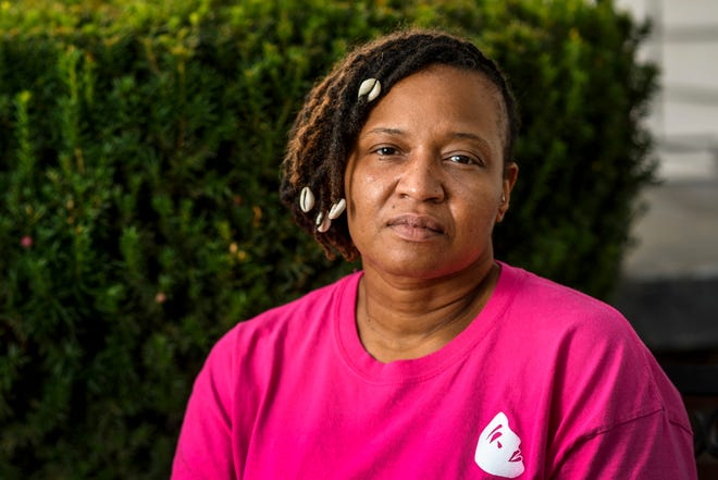 Mariama Wilson, Pigeon Township Trustee and local anti-gun violence activist, poses for a portrait in Evansville, Ind., Tuesday, Sept. 15, 2020. Her 24-year-old son LeAdron Petrie was left with life-threatening injuries after he was shot in the head and leg early one morning in August.