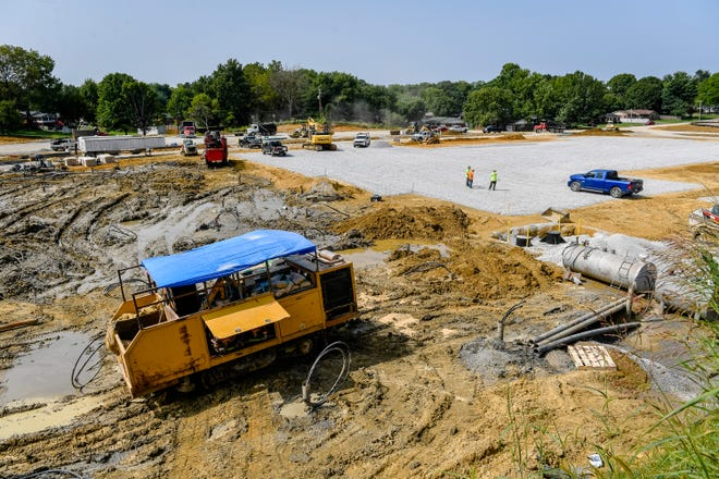 Work continues on the new Jefferson Elementary School under construction behind South Middle School Thursday, September 17, 2020. The $18 million permit accounts for nearly half of all new construction in Henderson so far this year.