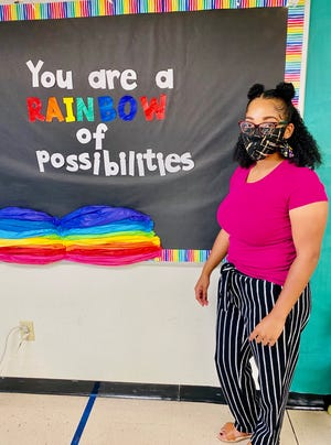 Ashly Nash, art teacher at Alice Boucher Elementary in Lafayette, helped music teacher April Henry create a video to show students the correct way to wear a mask.