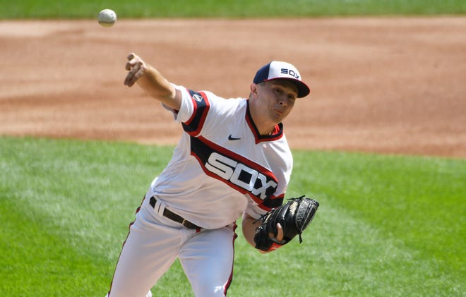 Jonathan Stiever pitches against the Tigers in his major-league debut Sunday.