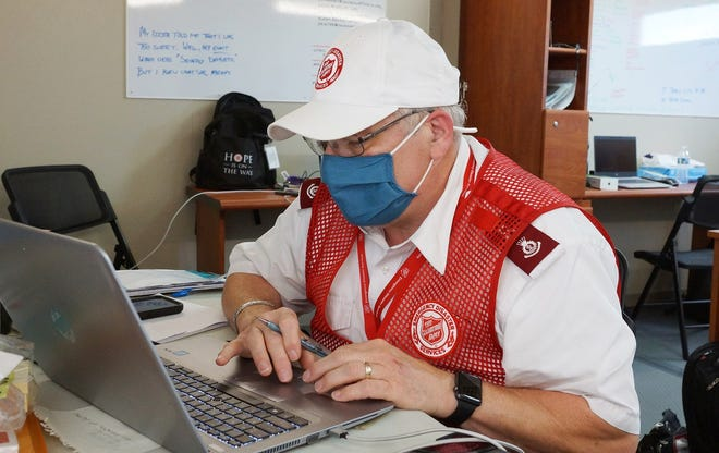 Maj. John Robbins of the Mountain Home Salvation Army is seen at work in Lakes Charles, La., as part of The Salvation Army's relief efforts in the wake of Hurricane Laura.