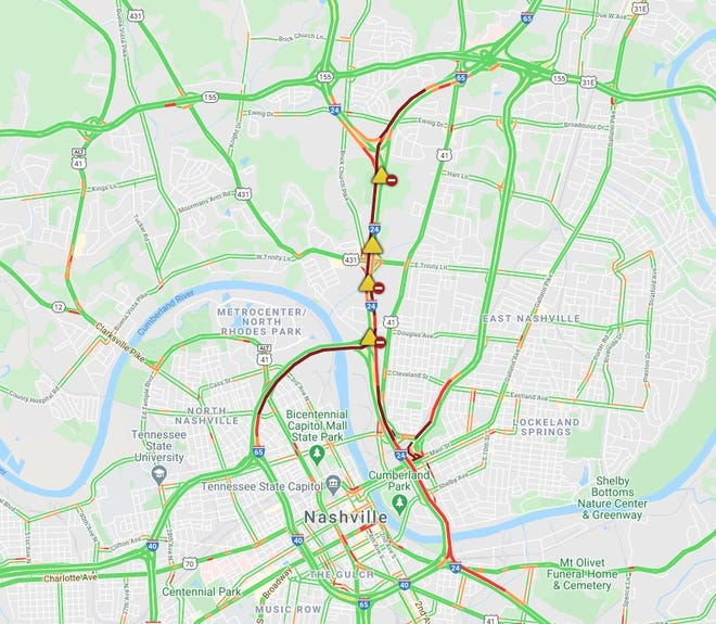 Multiple cars crashed Thursday afternoon and snarled traffic in Nashville, closing Interstate 65 southbound.