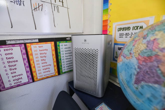 An air purifier is set up in classes at Las Cruces Catholic School in Las Cruces on Thursday, Sept. 17, 2020.