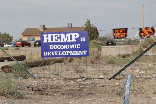 A sign along U.S. Highway 64 in Hogback shows support for growing hemp on Sept. 16.