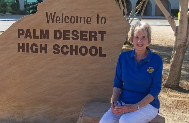 Long-time Rotary volunteer Mary Scott poses at Palm Desert High School, where she coaches students in writing and giving speeches, on Sept. 5, 2020.