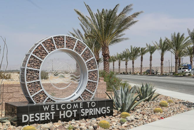 """The """"Welcome to Desert Hot Springs"""" sign near the I-10 Freeway on Palm Drive, September 16, 2020."""