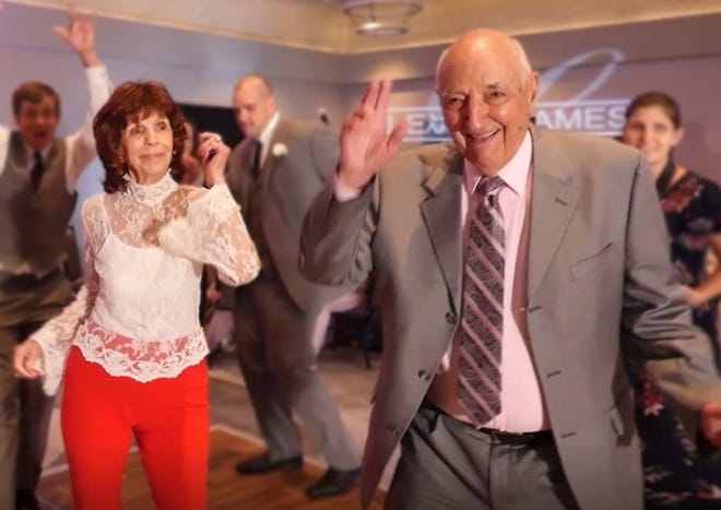 Dorothy and Jim Karam dancing at Jim's 92nd birthday party in February 2020.