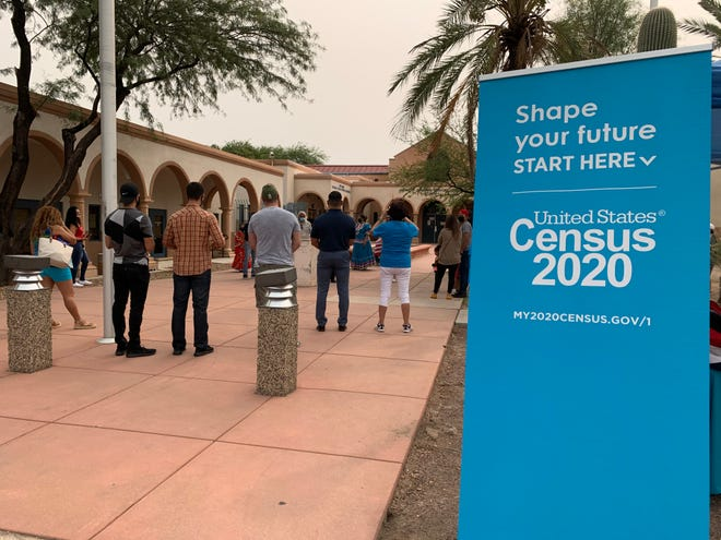 Volunteers with Chicanos Por La Causa and the League of United Latin American Citizens held a canvassing event in South Tucson on Sept. 12, 2020, with assistance from the Census Bureau.
