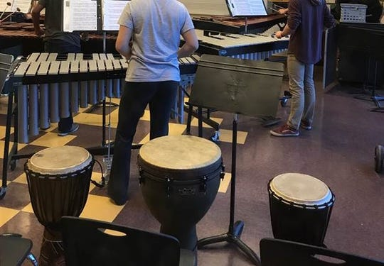 Arizona School for the Arts students in a percussion class prior to the COVID-19 pandemic.